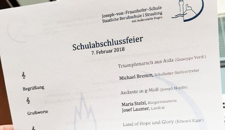 Schulabschlussfeier Joseph-von-Fraunhofer-Schule in Straubing