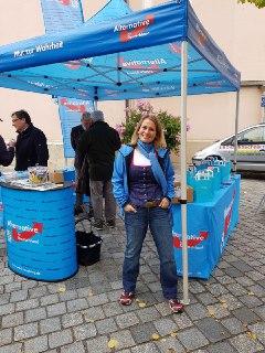 Infostand in Straubing an der Jesuitenkirche