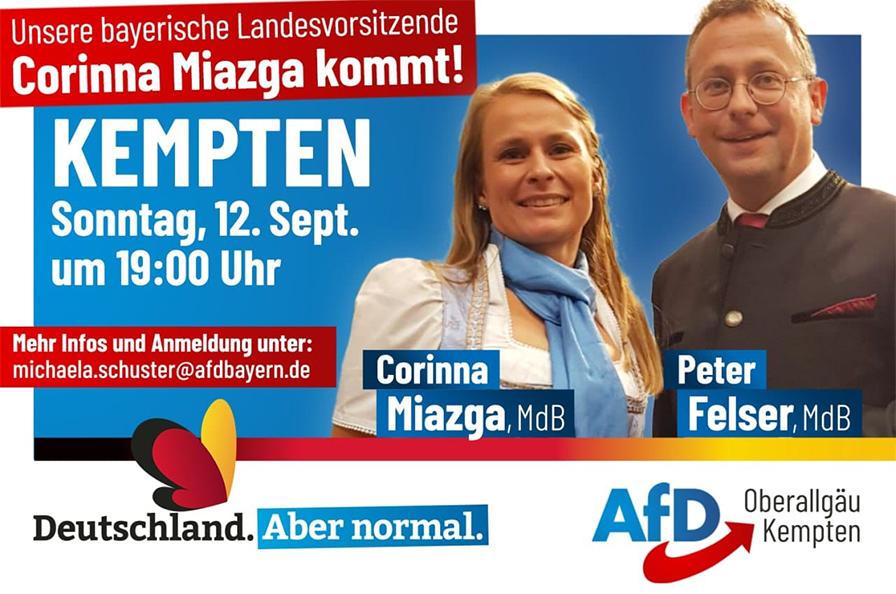 AfD Veranstaltung in Oberallgäu-Kempten mit Corinna Miazga und Peter Felser